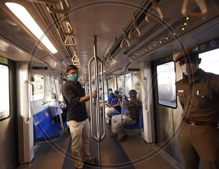 Commuters Travel In Metro Train Following Resumption Of Chennai Metro Services After Over Five Months Suspension Due To Covid-19 Outbreak, In Chennai, Tuesday, September 08, 2020.