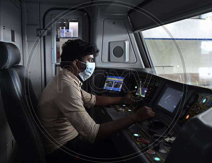 A Driver Operates A Metro Train Following Resumption Of Chennai Metro Services After Over Five Months Suspension Due To Covid-19 Outbreak, In Chennai,Tuesday, September 08, 2020.