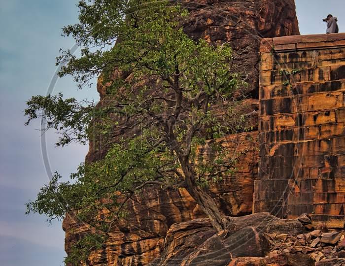 Badami rock structure near cave, unesco world heritage,Karnataka, India