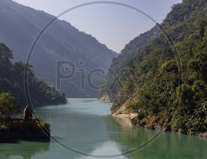 Teesta river flowing down from Sikkim to Darjeeling district