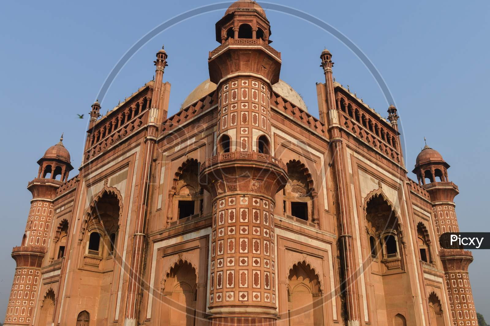 A Side View Of Architecture With Marble,Sandstone Of Safadarjung Tomb Memorial At Foggy Winter Morning.