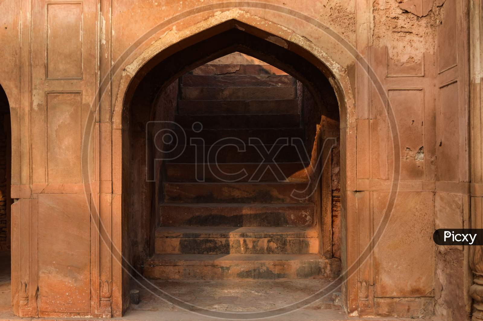 A Step,Ladder Of Entrance, Main Gate Of Main Safdarjung Tomb Memorial At Winter Morning.