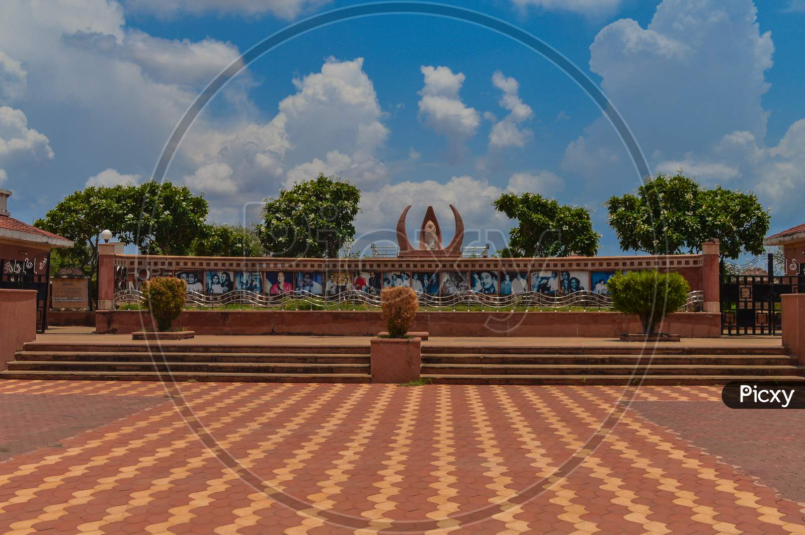 A View Of Kishor Kumar Memorial At Khandwa, Madhya Pradesh, India. Beautiful Blue Sky With Cloud.