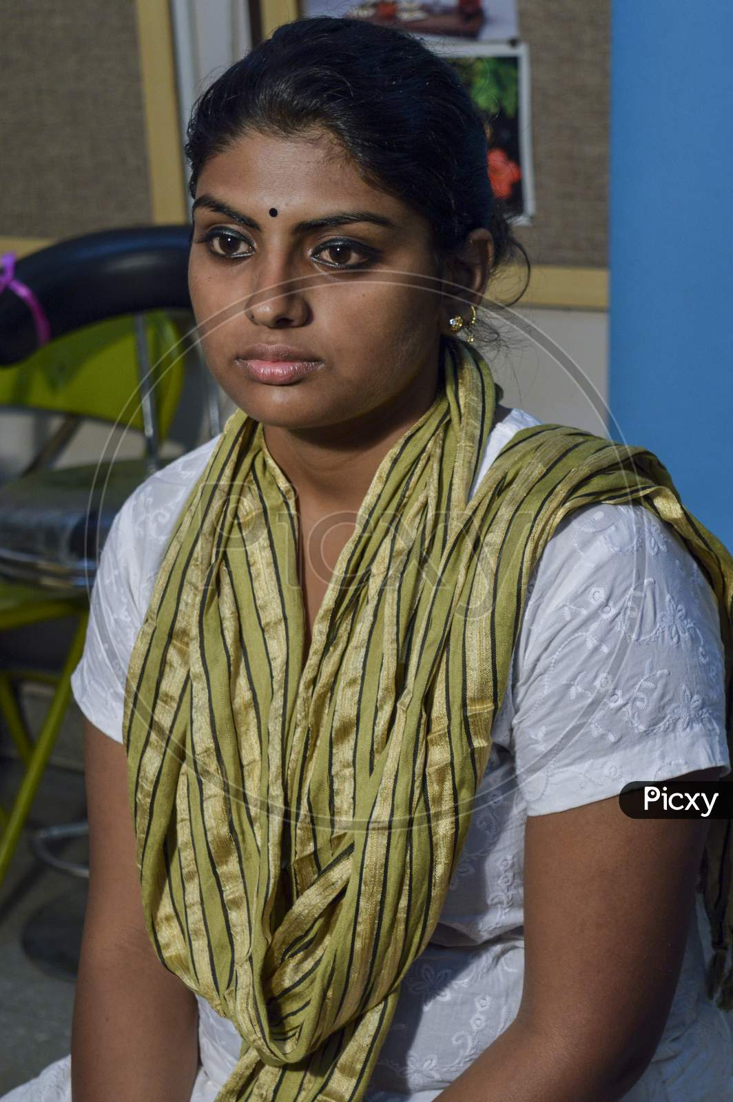 A Indian Girl Poses For Portfolio Shoot At Studio.