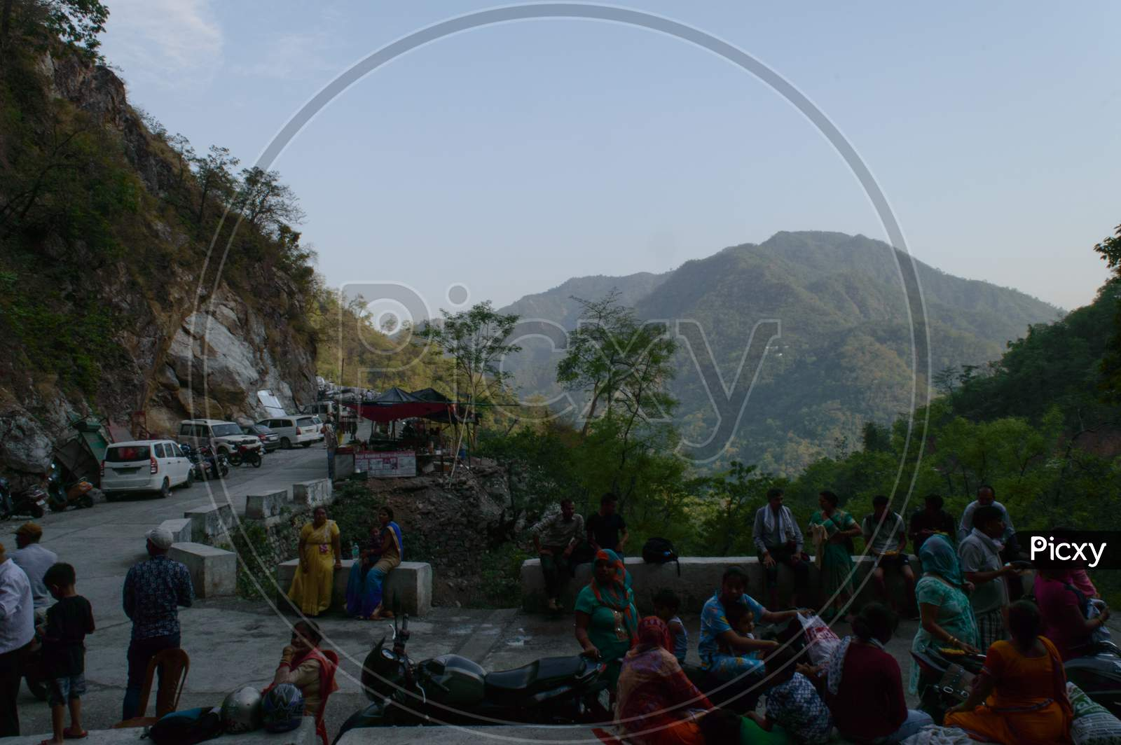 The View Of Mountain And Population Who Is Going To Trek And Destroy The Beauty Of Nature Towards The Famous Neer Waterfall, Rishikesh, Uttarakhand, India.