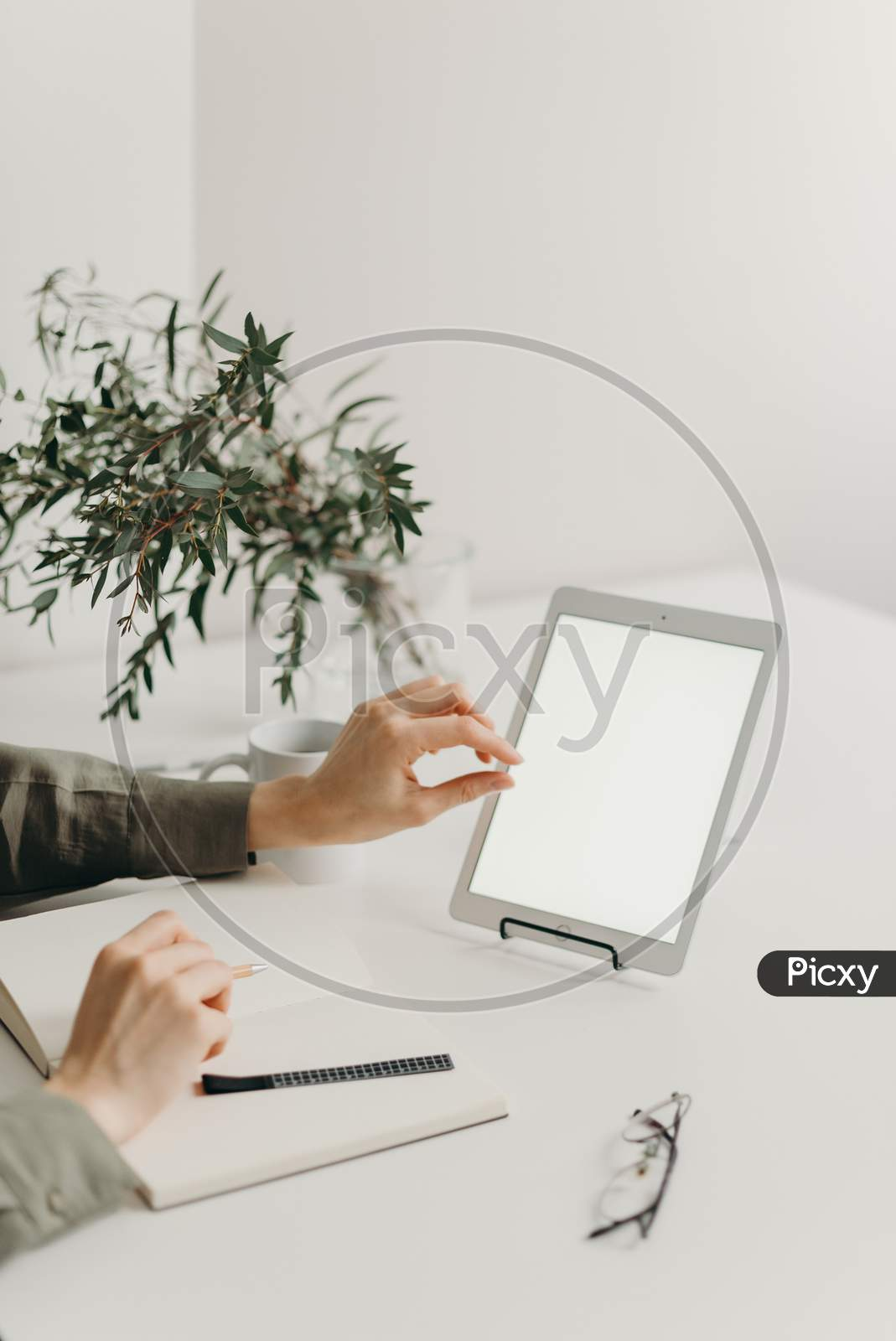 Transparent material tablet and furniture