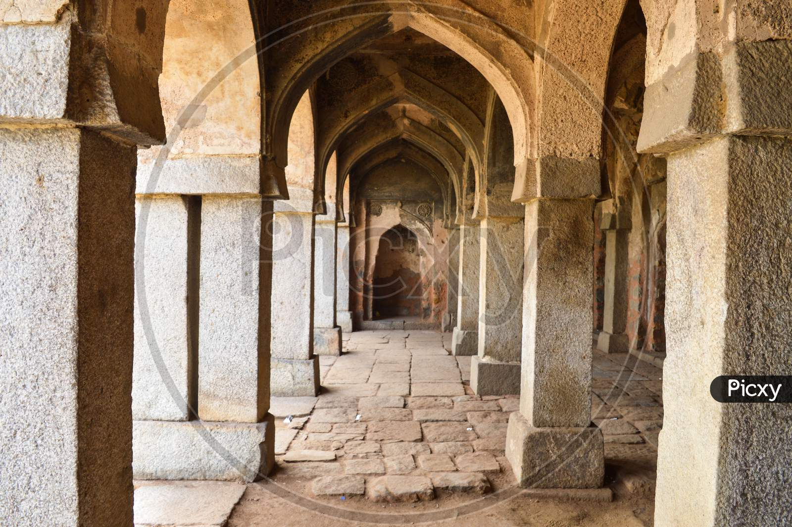 A Mesmerizing View Of Inside The Monument Of Hauz Khas Lake And Garden From The Hauz Khas Fort At Hauz Khas Village At Winter Foggy Morning.