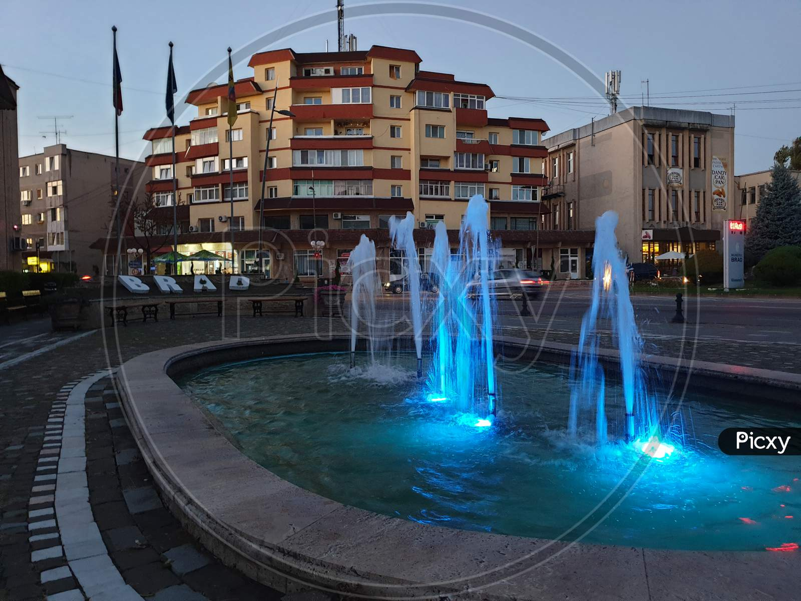 Brad Town Center Water Fountain In The Evening