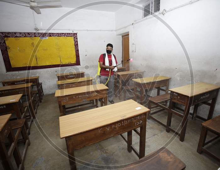A school building being sanitized in Jammu on Friday as preparations are underway to open the educational institutions for select classes after nearly six months closure due to the outbreak of Coronavirus pandemic on September,18.2020.
