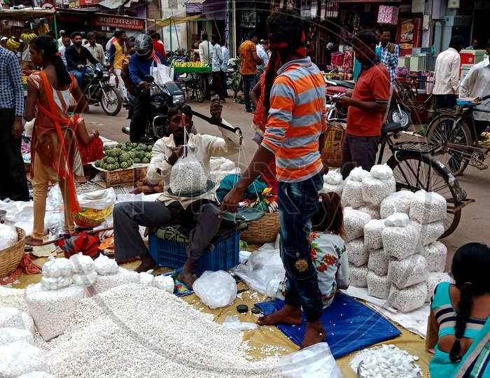 Indian Village Street Market Poor Shop Mismanagement Style.
