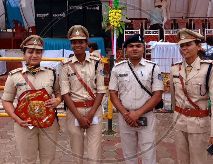 Asian Police On National Event.