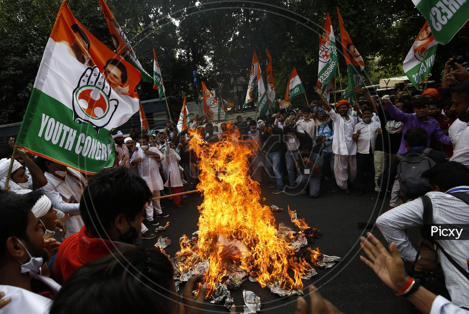 Member of India's opposition Congress party shout slogans during a protest against agriculture bills in New Delhi, India, Sept  22, 2020. Amid an uproar in Parliament, Indian lawmakers  approved a controversial agriculture bills that the government says will boost growth in  farming.
