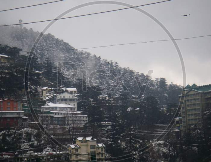 Shimla, on a winter frosty day, after the snowfall