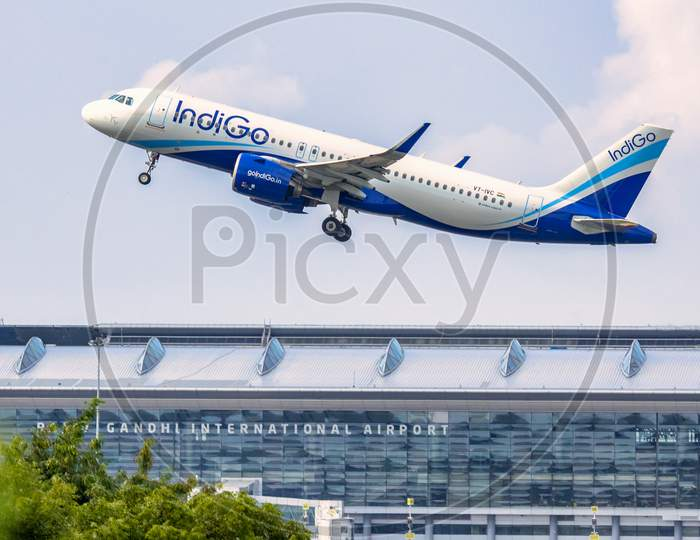 Indigo 6E Flight taking off from RGIA Airport in Hyderabad.