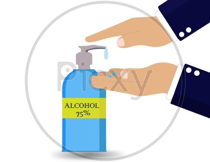 Wash Hands By Alcohol Gel,Alcohol Spray Ilustration