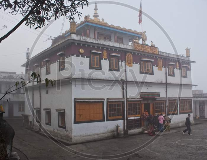 Ghoom Monastery On Misty Morning