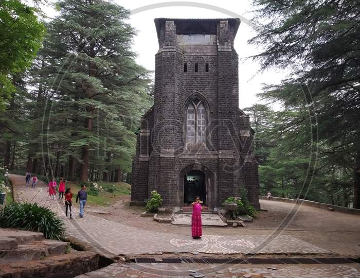 outside view of St. John in the Wilderness Church in India Himalayas mountains Dharamshala Mcleodganj triund Himachal Pradesh