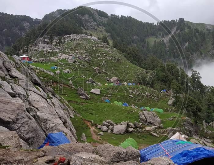 camping area in India Mountains Himalayas Dharamshala Mcleodganj Triund Himachal Pradesh