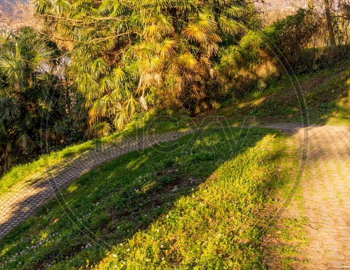 Italy, Lecco, Lake Como, Walking Path On A Hill
