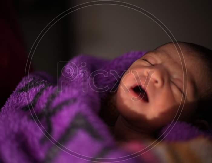 Newborn baby cute female