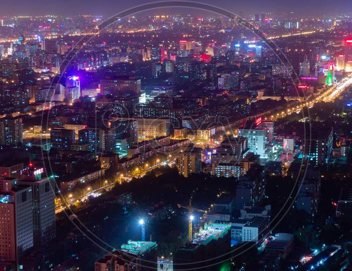 Panoramic Night View Of Beijing Cityscape, View From Central Television Tower