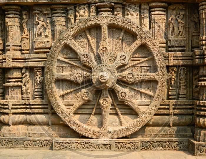 A wheel of Konark Sun Temple, Konark, Odisha