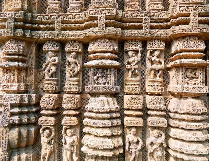 A portion of an wall of Konark Sun-Temple, Konark, Odisha