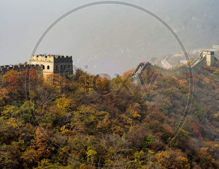 Mutianyu Section Of The Great Wall Of China During Autumn Foliage, Beijing
