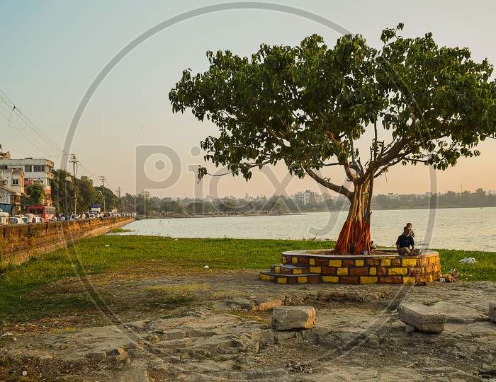 Kolhapur , Maharashtra , India- January 29Th 2019; Beautiful Warm Sunset In The City. A Man Sitting Under The Old Tree With His Son.