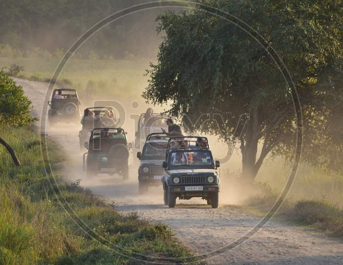 Tourists enjoy Jeep Safari on the first day of New Year 2021 inside the Kohora Range of Kaziranga National Park in Golaghat District of Assam on Jan 1,2021