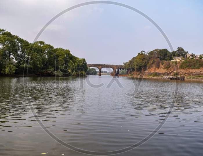 Bridge Constructed Over The Ancient River In Kolhapur City India.
