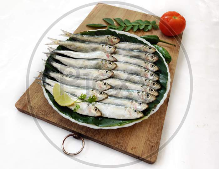 Closeup View Of Fresh Indian Oil Sardine Decorated With Herbs And Vegetables,Selective Focus.White Background.