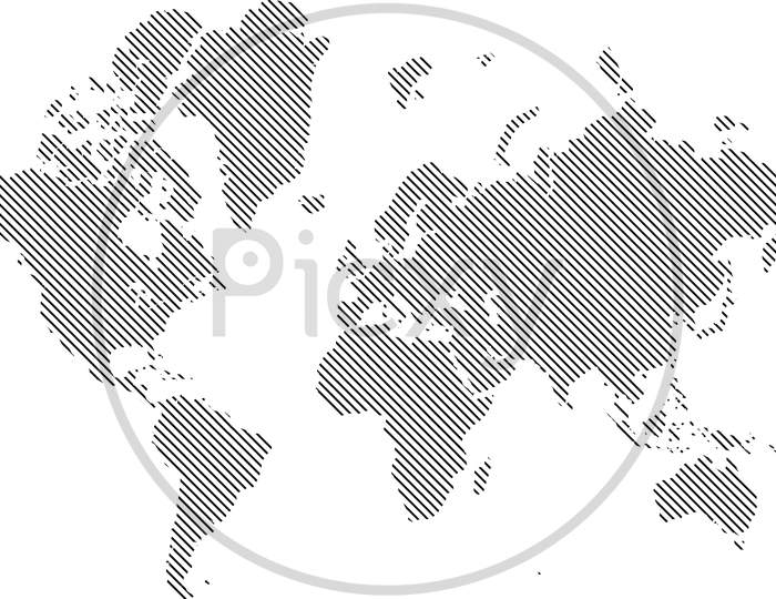 Illustration Of Globe Map With Geometric Shapes Pattern Imposed.