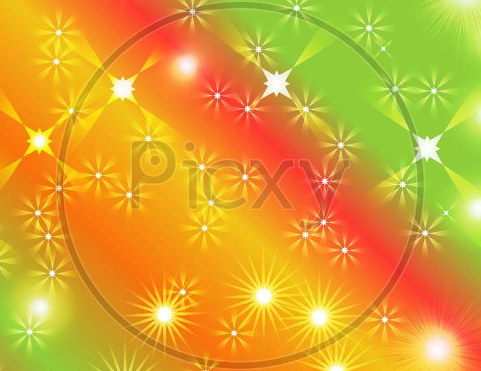 Black Abstract Light Background With Glittery Colored Shiny Bokeh Stars.