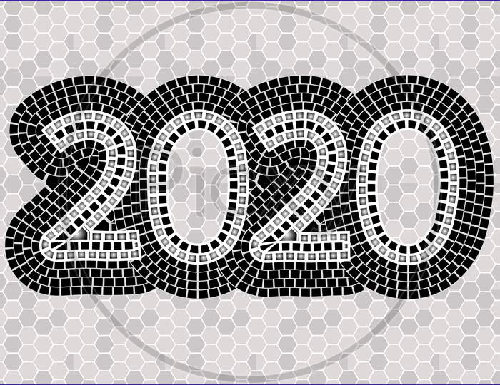 2020 Typography On A Mosaic Background.