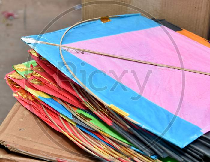 Colorful paper kites from India used for the sport of kite fighting. These are traditionally flown on Makar Sankranti or on Republic day