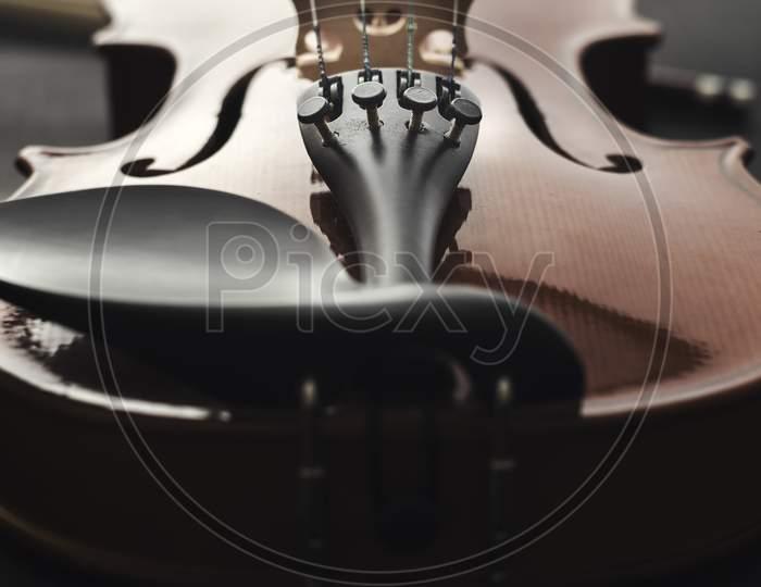 Close Up Shot Of A Violin