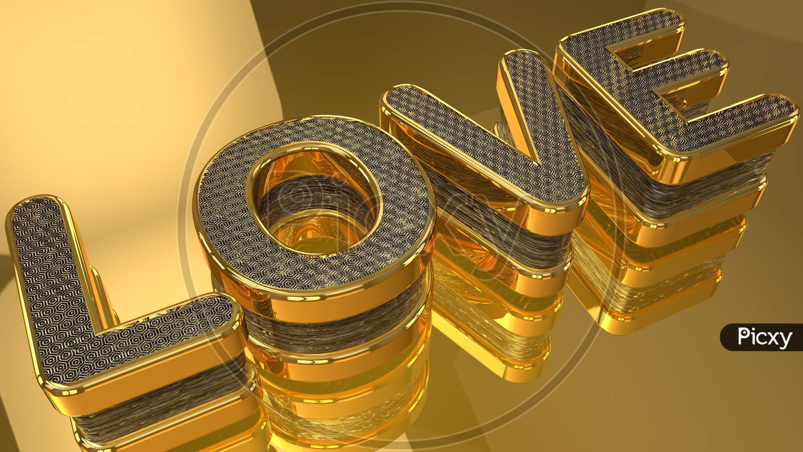 Letter Love With 3D Shapes On A Beautiful Background.