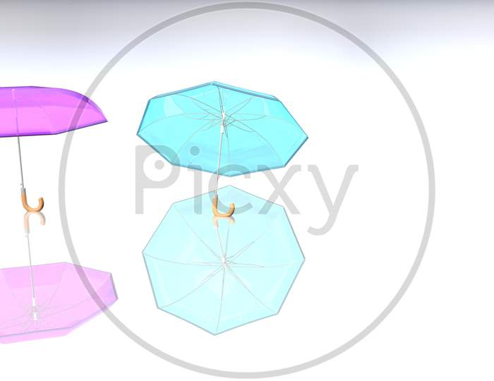 Colorful Umbrella With Shadow On A Delightful Color Background