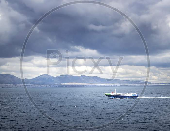View Of Transport Vessel Cruising On The Sea