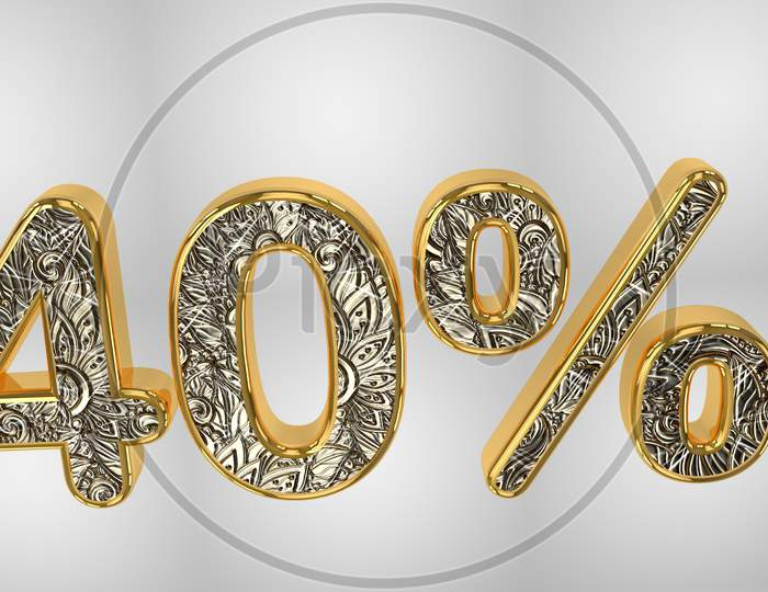 % Off Discount Promotion Sale Made Of Realistic Gold Helium Text, 3D Rendering