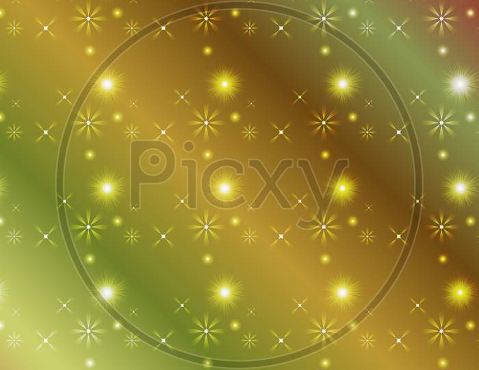 Gradient Color Abstract Light Background With Glittery Colored Shiny Bokeh Stars.