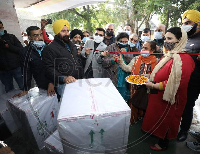 The first consignment of COVID-19 vaccination arrives at a storage facility, in Jammu ,13,JAN,2021.
