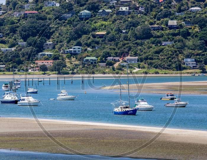 Boats In The Inlet At Tairua New Zealand