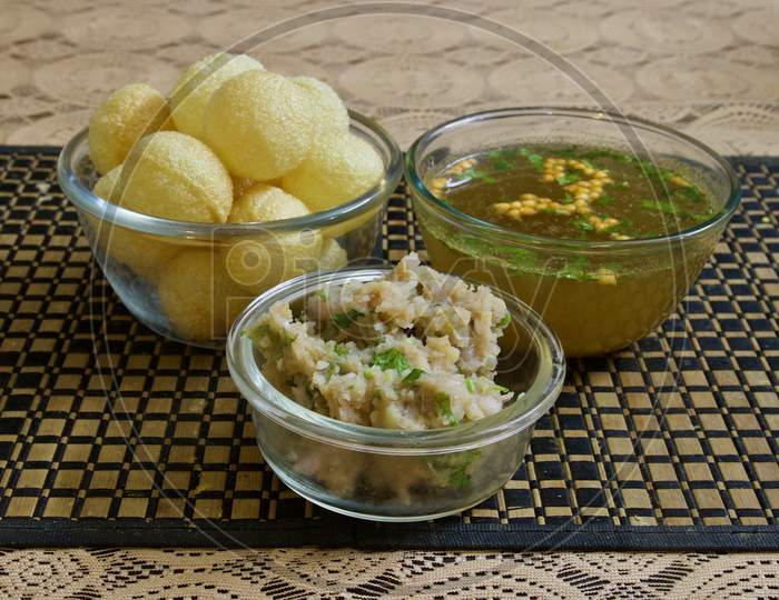 Panipuri Or Phuchka Ready To Be Served For Evening Snacks