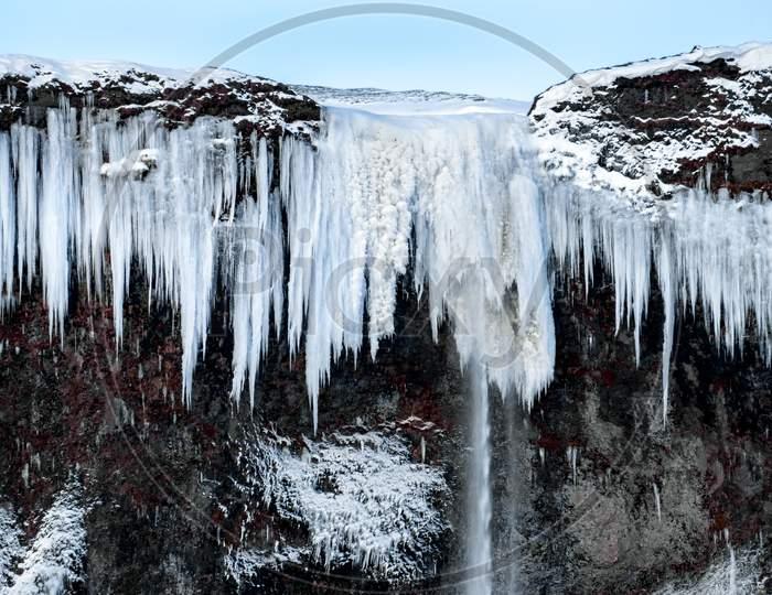 Frozen Waterfall Near Vik Iceland