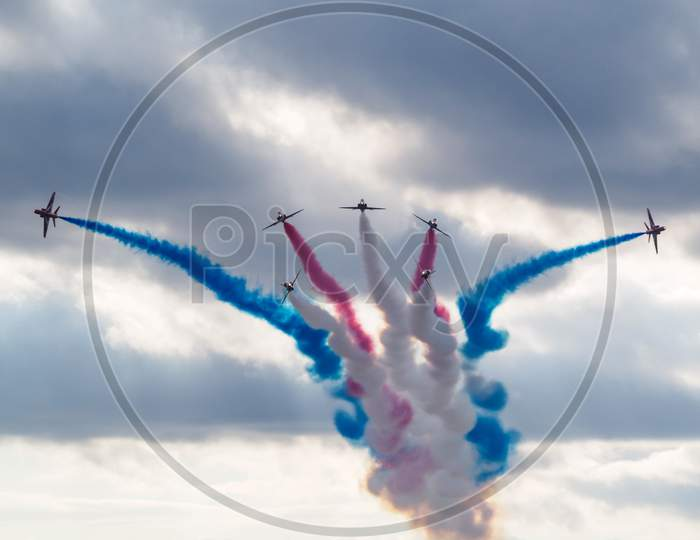 Red Arrows Display Team 50Th Anniversary At Biggin Hill Airport