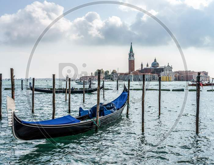 Gondola Moored At The Entrance To The Grand Canal