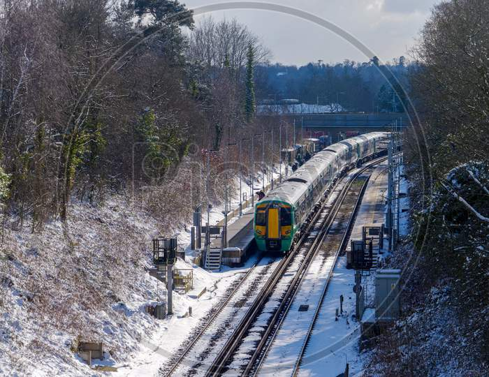 East Grinstead, West Sussex/Uk - February 27 : Train At East Grinstead Railway Station In East Grinstead West Sussex  On February 27, 2018