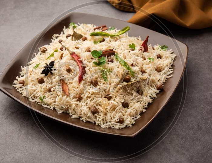 Indian Veg Chana Pulav Also Known As Chickpea Biryani, Pulav Or Pilaf